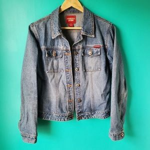 Guess Blue Button Down Jean Jacket Size Medium